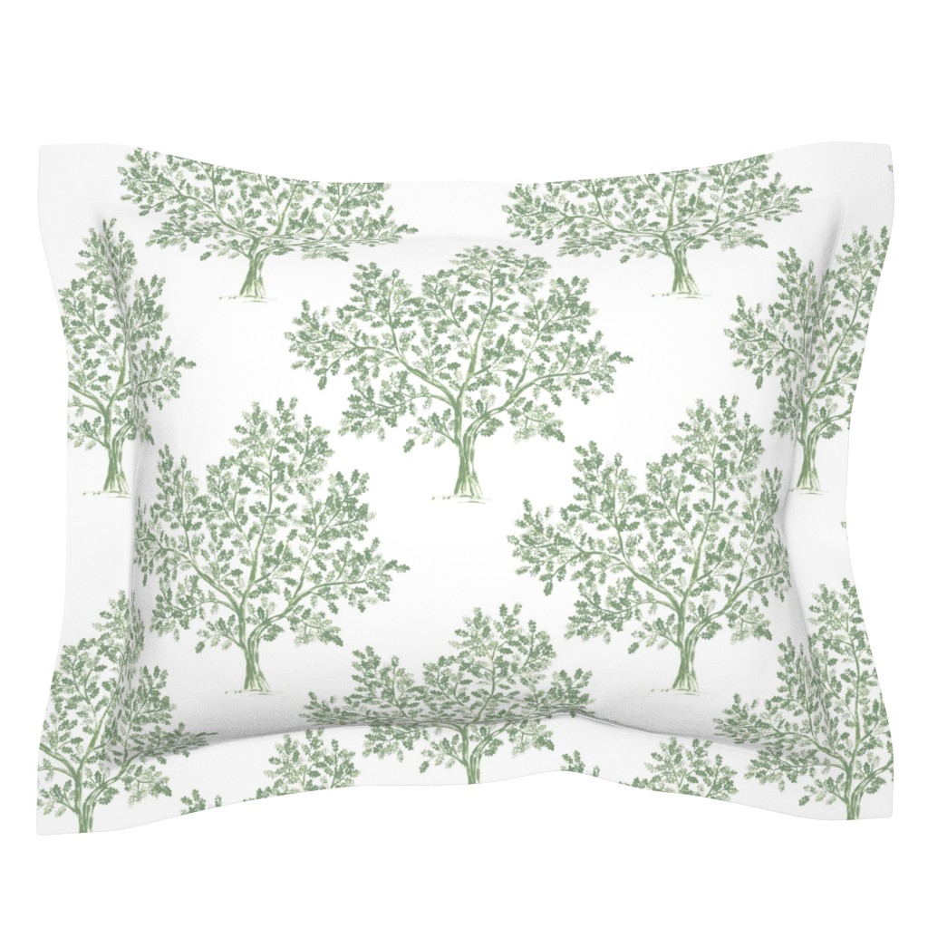Sebright Pillow Sham featuring Oak Tree (Soft Olive) by kate_rowley