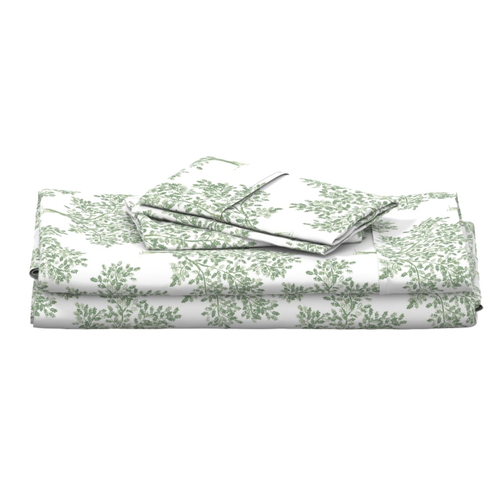 Langshan Full Bed Set featuring Oak Tree (Soft Olive) by kate_rowley