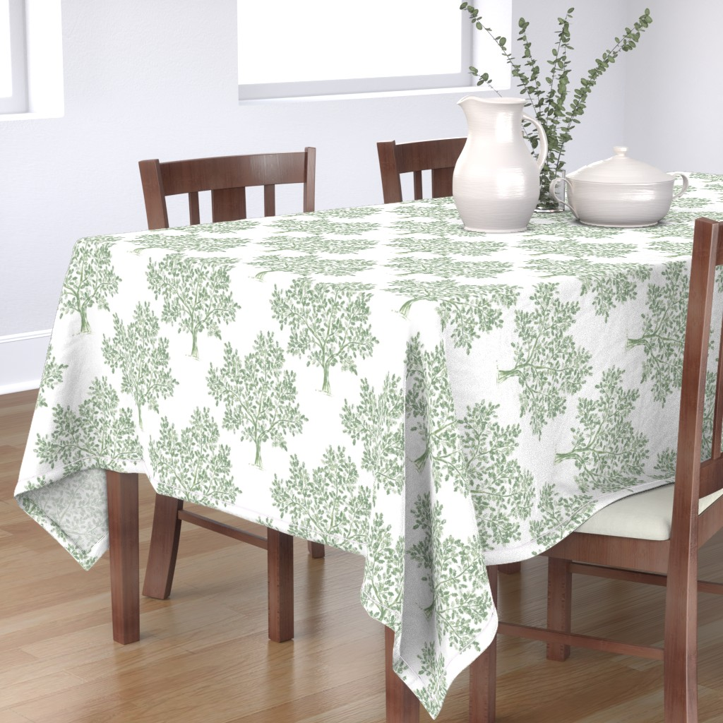 Bantam Rectangular Tablecloth featuring Oak Tree (Soft Olive) by kate_rowley
