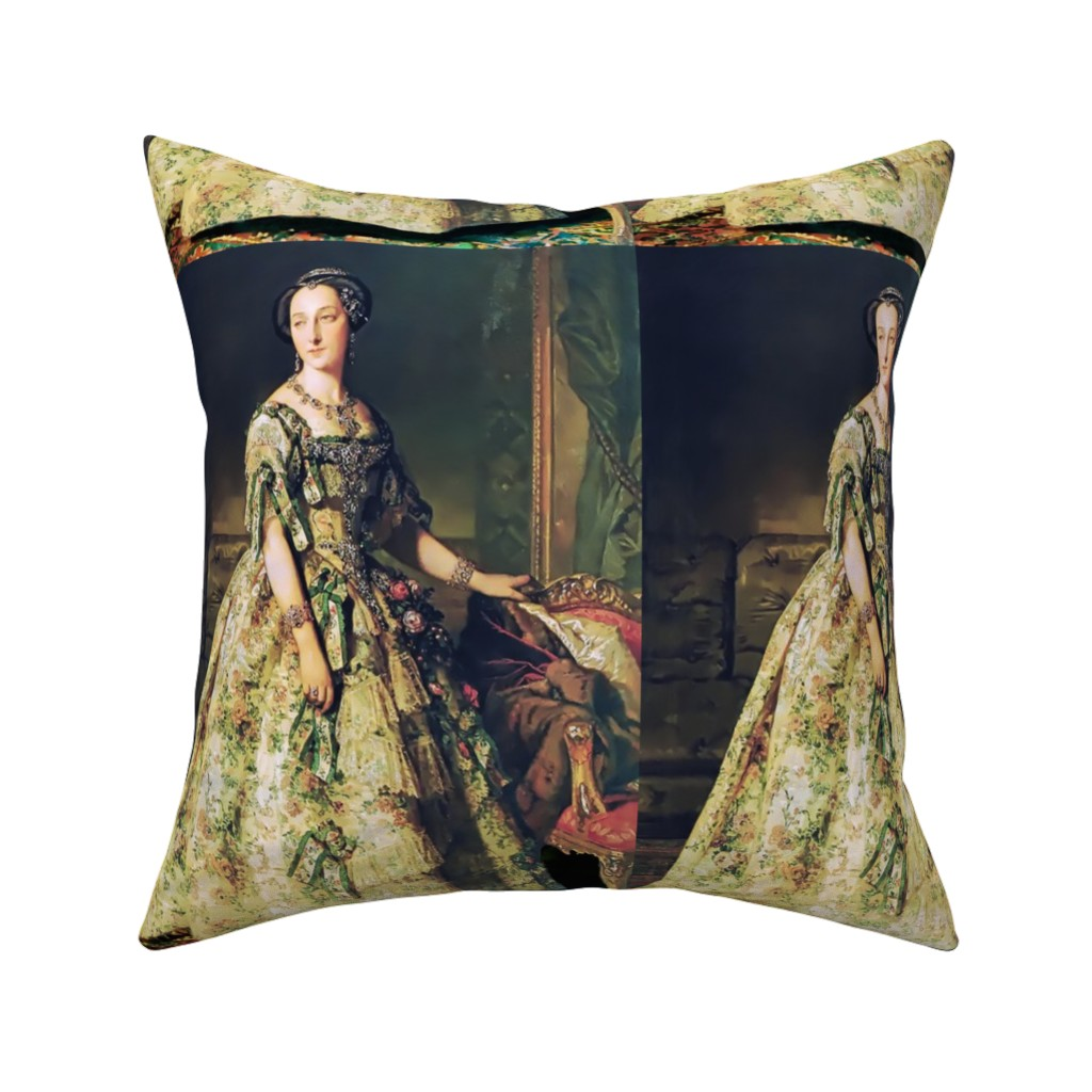 Catalan Throw Pillow featuring princesses green gowns ruffles hair buns baroque victorian beauty royal lace bows diamonds roses flowers ballgowns rococo portraits beautiful lady flowers floral jewelry woman elegant gothic lolita egl neoclassical  historical romantic 19th century 20th r by raveneve