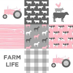 Farm Life -  Patchwork - Carnation and grey - baby girl farm themed nursery patchwork fabric