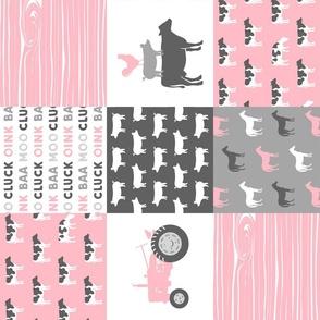 Farm Life -  Patchwork - Carnation and grey - baby girl farm themed nursery patchwork fabric (90)