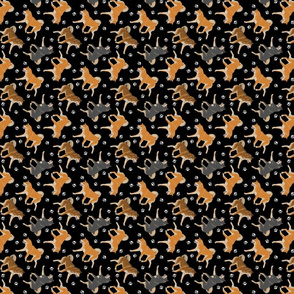 Trotting Shiba Inu and paw prints B - tiny black