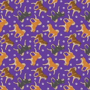 Trotting Shiba Inu and paw prints B - purple