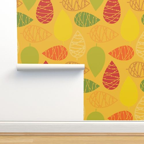 Wallpaper Abstract Doodle Leaves Modern Fall Autumn Print