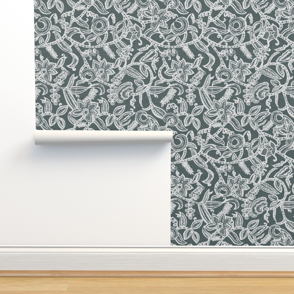 Isobar Durable Wallpaper featuring Vintage floral lace gray inv by chicca_besso