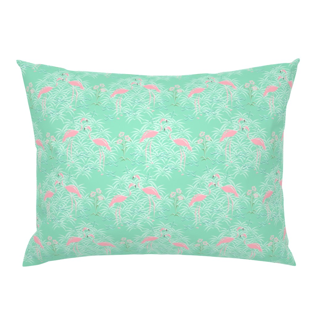 Campine Pillow Sham featuring Pink Flamingos on Diamond Palms by studioxtine