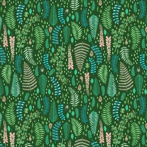 Small Scale Emerald forest on Light Green