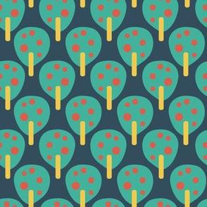 Retro apple trees teal on blue