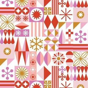 Santa's Workshop* (Reds & Pinks) || geometric star stars starburst snowflake snowflakes grid  stripes christmas holiday gold mustard