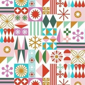 Santa's Workshop* (Multi) || geometric star stars starburst snowflake snowflakes grid christmas holiday stripes