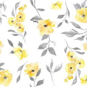 """15"""" watercolor floral - poppy - yellow and grey"""