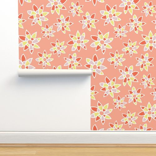 Wallpaper Abstract Orange Coral Pink Lime Yellow White Flowers On A Peach Background Distressed Look