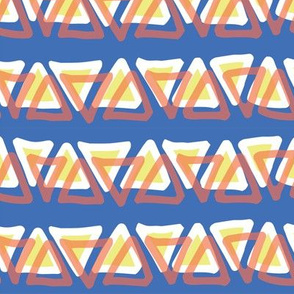 Irregular coral lime yellow white doodle triangles in a row on a  blue background. Layered triangles.