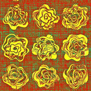 Yellow Roses on red and green