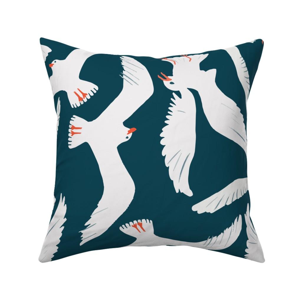 Catalan Throw Pillow featuring Sea Gulls by melarmstrongdesign