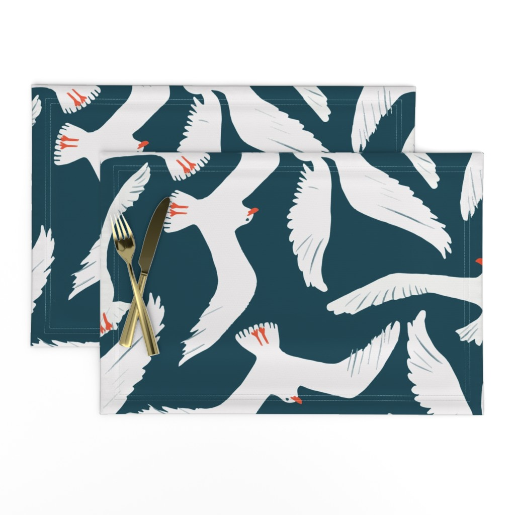 Lamona Cloth Placemats featuring Sea Gulls by melarmstrong
