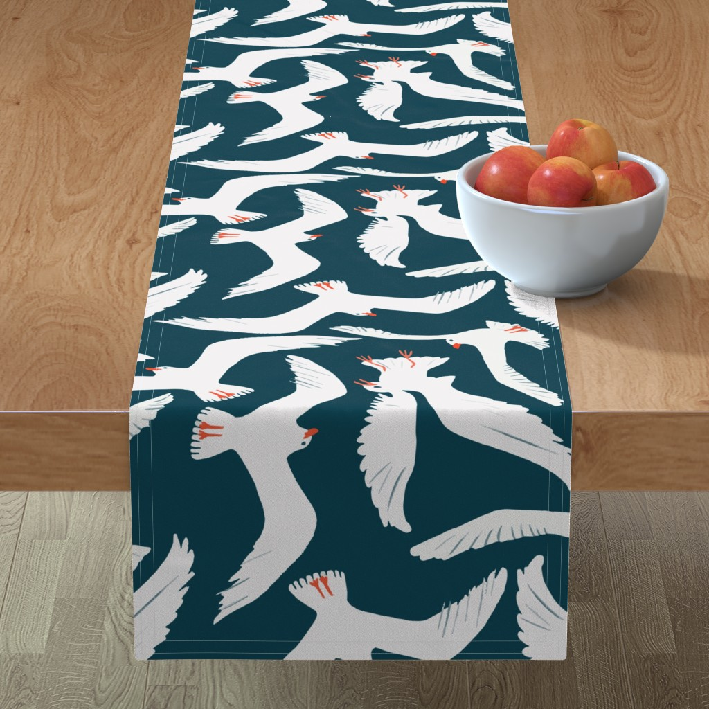 Minorca Table Runner featuring Sea Gulls by melarmstrong
