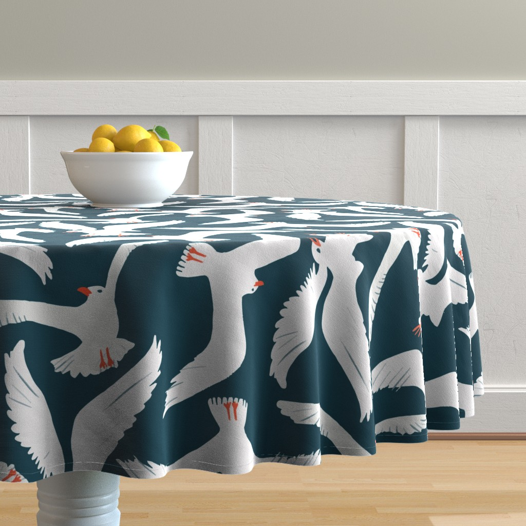 Malay Round Tablecloth featuring Sea Gulls by melarmstrong
