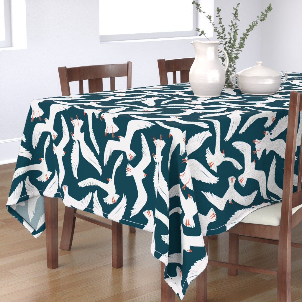 Bantam Rectangular Tablecloth featuring Sea Gulls by melarmstrong