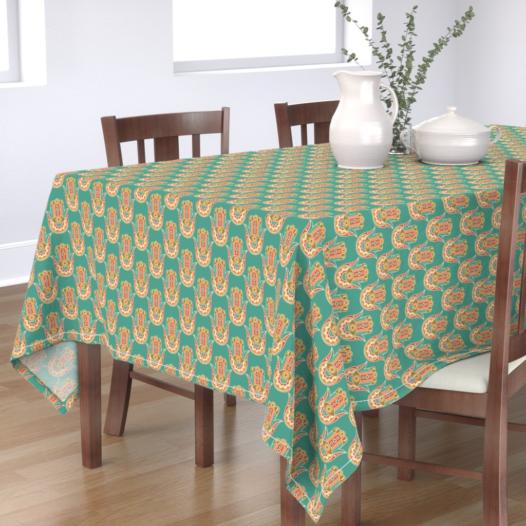 Bantam Rectangular Tablecloth featuring Hamsa Hand by tamara_lance