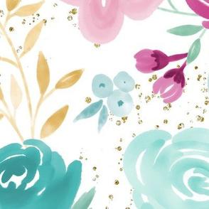 "Large Scale ""Grace"" Floral w Gold Glitter Specks"