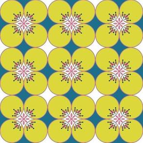 1960s Flower power circles in Mustard yellow