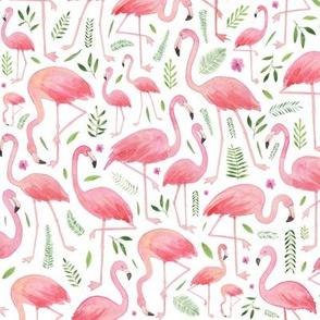 Watercolour Flamingos