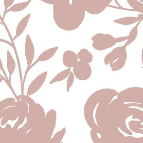 """Large Scale """"Heavenly"""" Mauve Floral on White"""