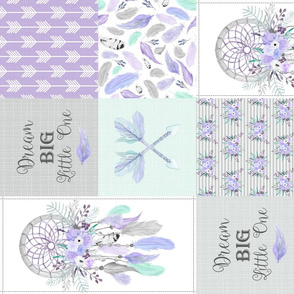 Dream Big Dream Catchers Patchwork Quilt Top – Wholecloth for Girls Purple Lavender Grey Feathers Nursery Blanket Baby Bedding - ROTATED