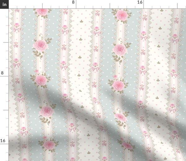 Stoff-Meterware Bordüre, Blumen, Baby, rosa, Vintage, Kinderzimmer, blau,  Lolita