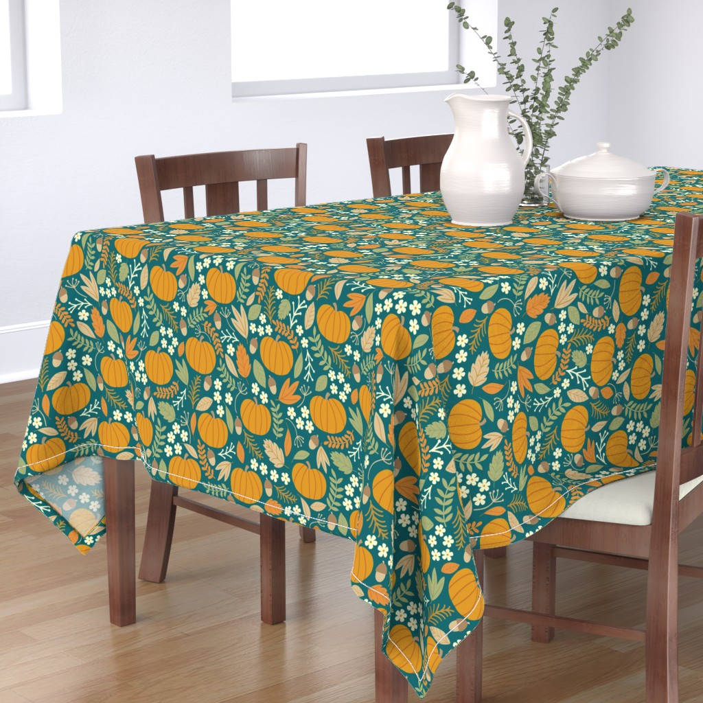 Bantam Rectangular Tablecloth featuring October-Jade-large by taylorshannon