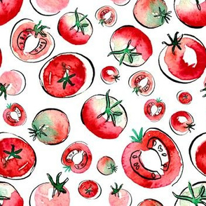 Watercolor Tomatos by Kristina Hunter