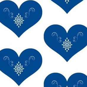 Blue Scandinavian Hearts