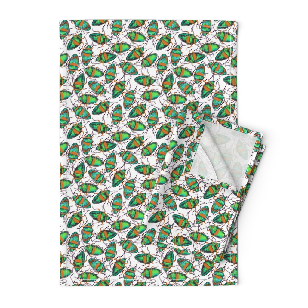 Orpington Tea Towels featuring Emerald Bugs bunch by helenpdesigns