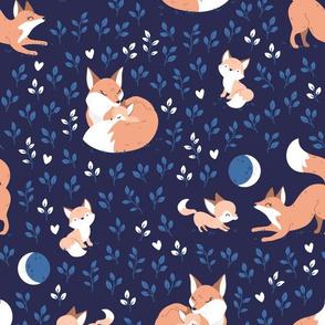 Fox Mama - navy night leaves