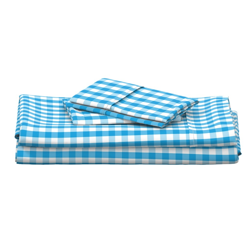Langshan Full Bed Set featuring Oktoberfest Bavarian Blue and White Gingham Check by paper_and_frill
