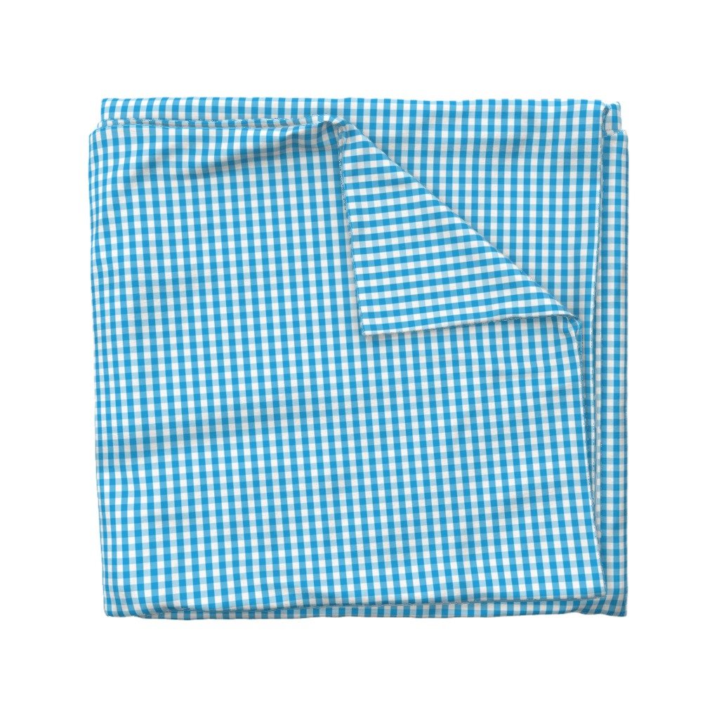 Wyandotte Duvet Cover featuring Oktoberfest Bavarian Blue and White Small Gingham Check by paper_and_frill