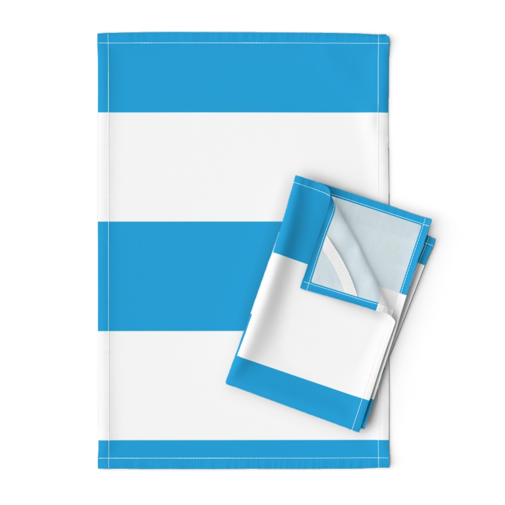Orpington Tea Towels featuring Oktoberfest Bavarian Blue and White Large Cabana Stripes by paper_and_frill