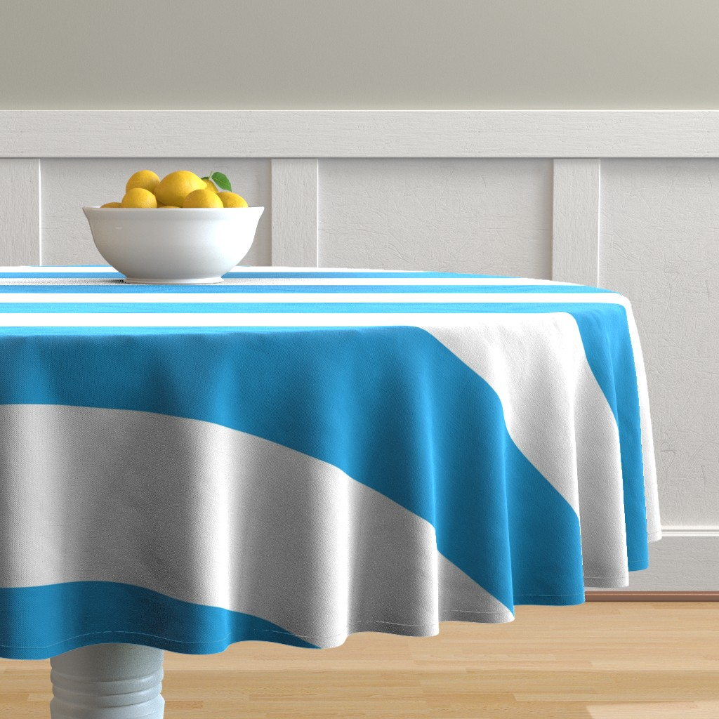 Malay Round Tablecloth featuring Oktoberfest Bavarian Blue and White Large Cabana Stripes by paper_and_frill