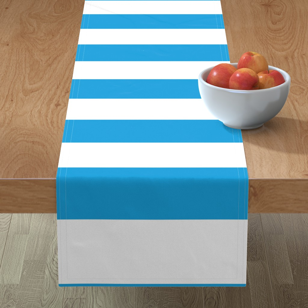 Minorca Table Runner featuring Oktoberfest Bavarian Blue and White Large Cabana Stripes by paper_and_frill