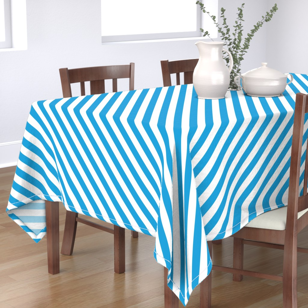 Bantam Rectangular Tablecloth featuring Oktoberfest Bavarian Blue and White Small Candy Cane Stripes by paper_and_frill