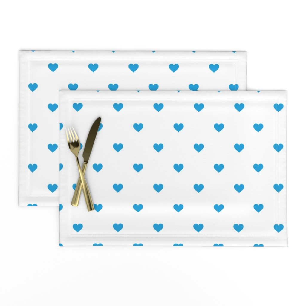 Lamona Cloth Placemats featuring Oktoberfest Bavarian Blue Mini Love Hearts on White  by paper_and_frill