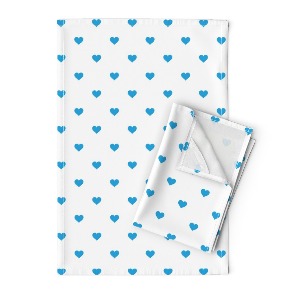 Orpington Tea Towels featuring Oktoberfest Bavarian Blue Mini Love Hearts on White  by paper_and_frill