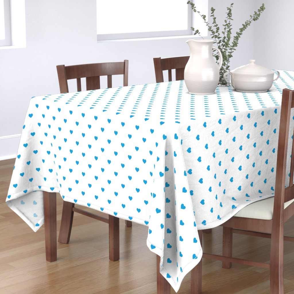 Bantam Rectangular Tablecloth featuring Oktoberfest Bavarian Blue Mini Love Hearts on White  by paper_and_frill