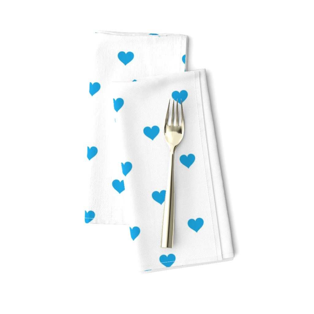 Amarela Dinner Napkins featuring Oktoberfest Bavarian Blue Mini Love Hearts on White  by paper_and_frill