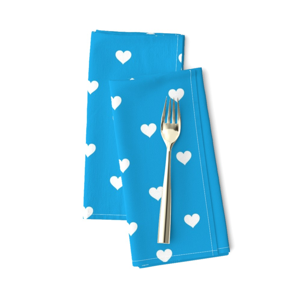 Amarela Dinner Napkins featuring Mini White Love Hearts on  Oktoberfest Bavarian Blue by paper_and_frill