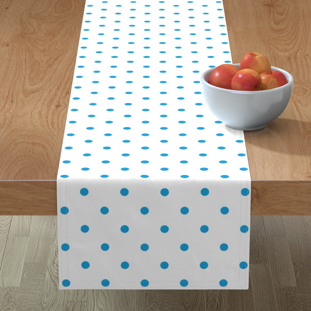 Minorca Table Runner featuring Mini Oktoberfest Bavarian Blue Polkadots on White by paper_and_frill