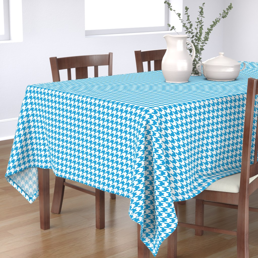 Bantam Rectangular Tablecloth featuring Oktoberfest Bavarian Blue Houndstooth Check by paper_and_frill