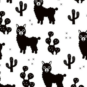 Monochrome llama alpaca love cactus summer design black and white